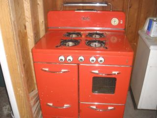 Red 1940 ' S 50 ' S Quality Brand 4 Burner Gas Stove Oven Broiler Storage photo
