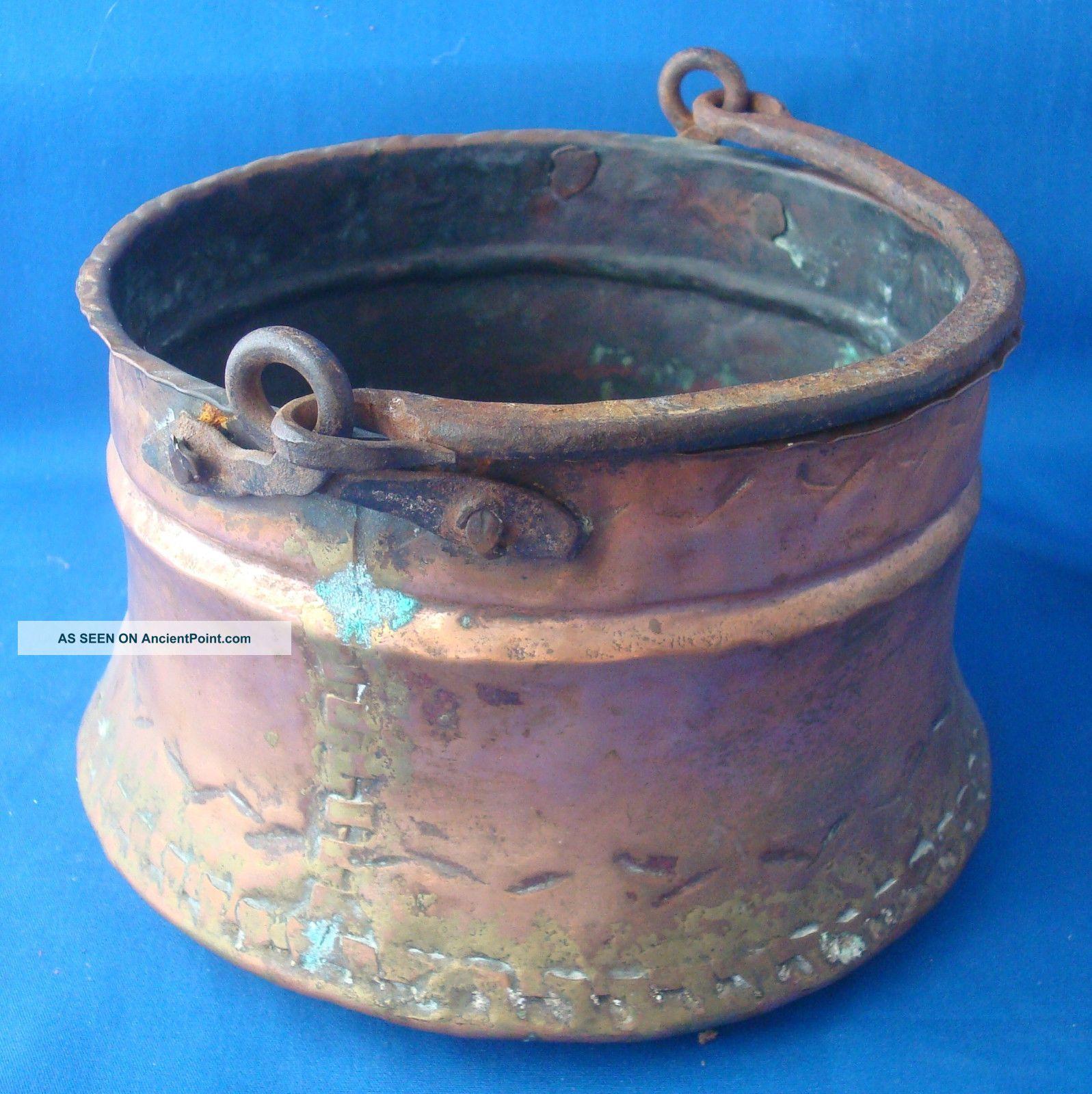 Primitive Copper Hanging Cauldron Antique Pot Dovetail Seam 7½