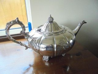 Large Antique Cavalier Silver Plated On Copper Tea Pot photo
