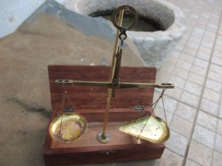 Antique Or Vintage Portable Small Scale Embossed Marks In Brass With Wood Box photo