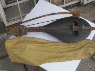 Antique Bulgarian String Musical Instrument Gadulka Rebec Fiddle Violin photo