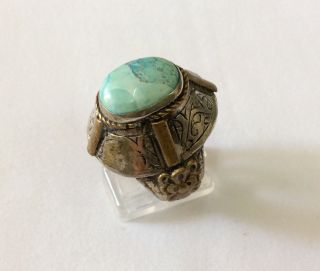 Men ' S Silver Engraved Ring Turquoise Near Eastern Islamic Vintage Medieval 11.  5 photo