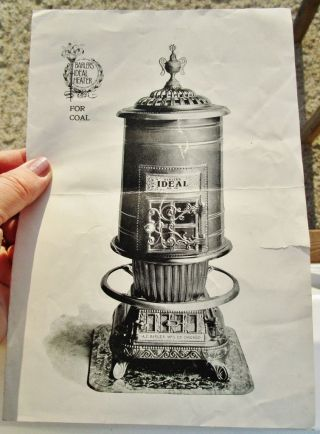 C.  1895 Antique Hard Coal Stove Flyer: A.  C.  Barler Ideal Heater No.  30 Chicago photo