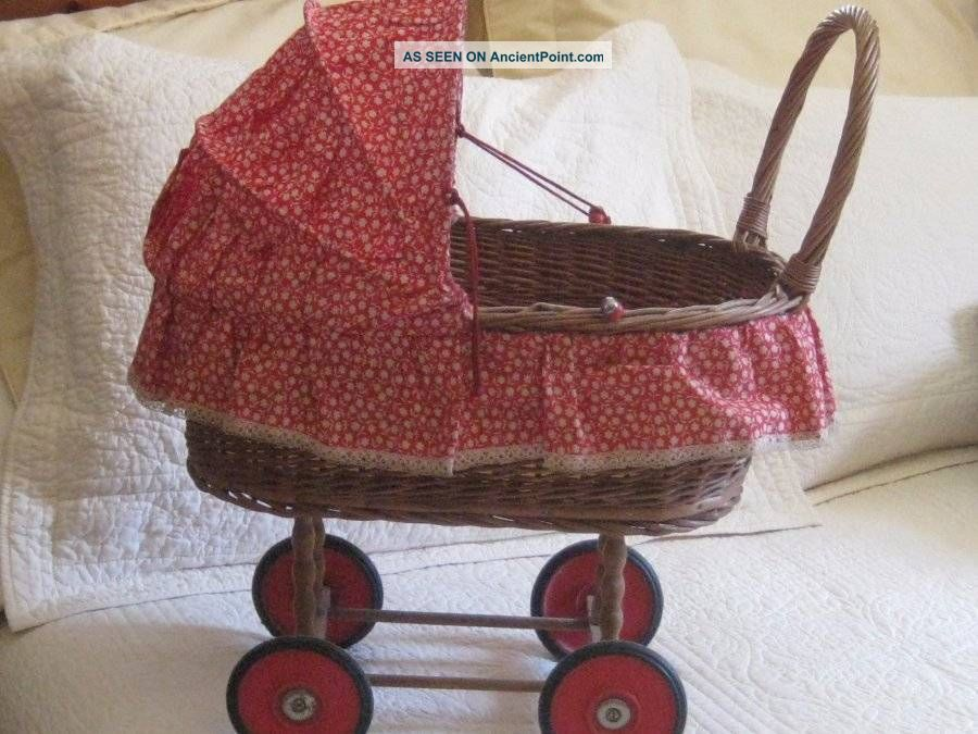 Antique Wicker Doll Buggy Baby Carriage Vintage Doll Toy Stroller Red Wheels Baby Carriages & Buggies photo