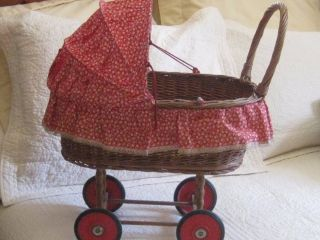 Antique Wicker Doll Buggy Baby Carriage Vintage Doll Toy Stroller Red Wheels photo