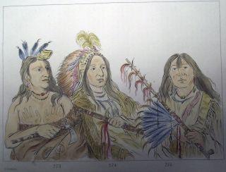 1842 G.  Catlin Handcol Engraving Native American Indians Mandan Chiefs photo