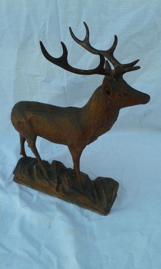 Antique Black Forest Wood Carved Roe Deer Stag Statue,  Sculpture photo