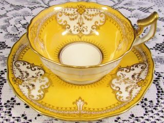 Cauldon Lavish Gold Gilt Designs Bright Yellow Tea Cup And Saucer photo