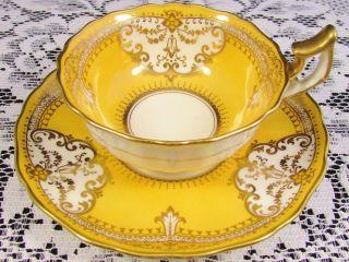 Cauldon Lavish Gold Gilt Designs Bright Yellow Tea Cup And Saucer photo