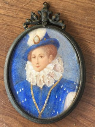 Antique Mini Portrait Signed,  Circa 1880 - 1900 Lady In Blue Riding Habit photo