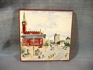 Impressionist Cityscape Painting Porcelain Tile Rako Denmark Danish Modern photo