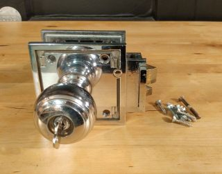 Vintage Corbin Door Knob W/ Key - Art Deco Nickel Plated Brass photo