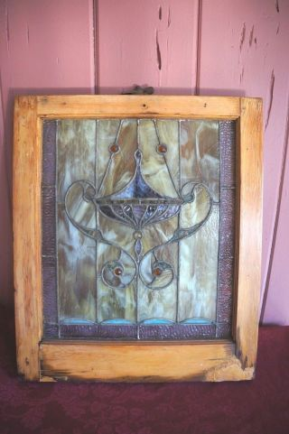 Vintage Estate Obtained Stained Glass Window photo