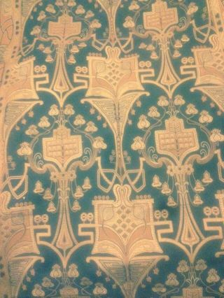 Antique Art Nouveau Woven Fabric Textile Portiere Panel Drape Tapestry 48