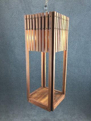 Mid Century Danish Modern Hand Made Teak Wood Swag Lamp Hanging Planter photo