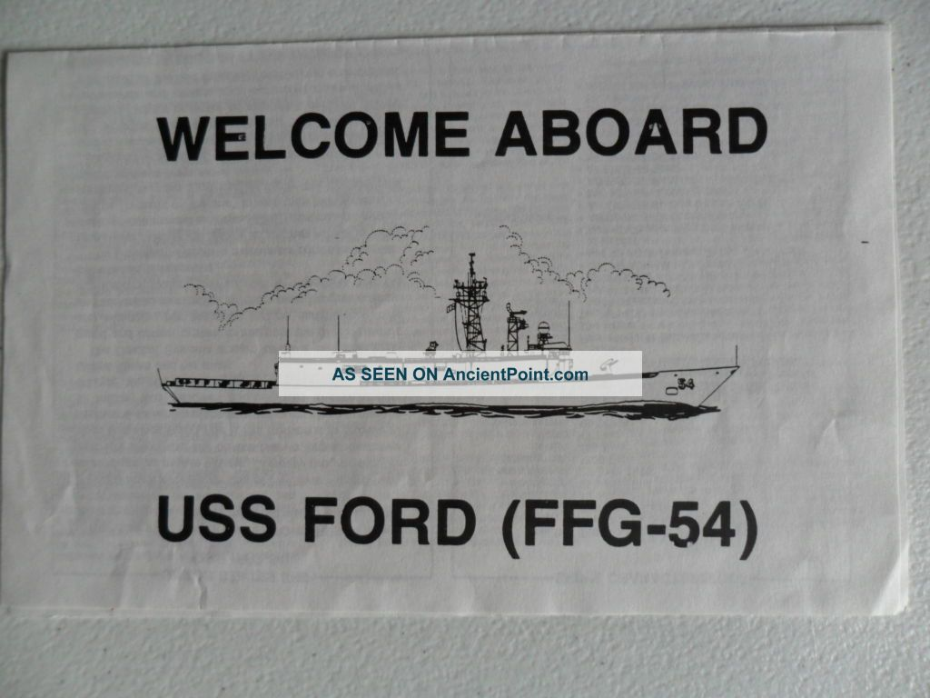 Naval/united States Navy Uss Ford (ffg - 54) Welcome Aboard Other Maritime Antiques photo