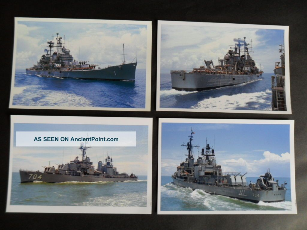 4 Naval Photos Taken From Hmas Hobart Off Vietnam 1968 Of Uss Boston & Borie Other Maritime Antiques photo