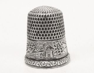 Antique Simon ' S Bros Sterling Silver Cottage Landscape Bridge Thimble Size 11 photo