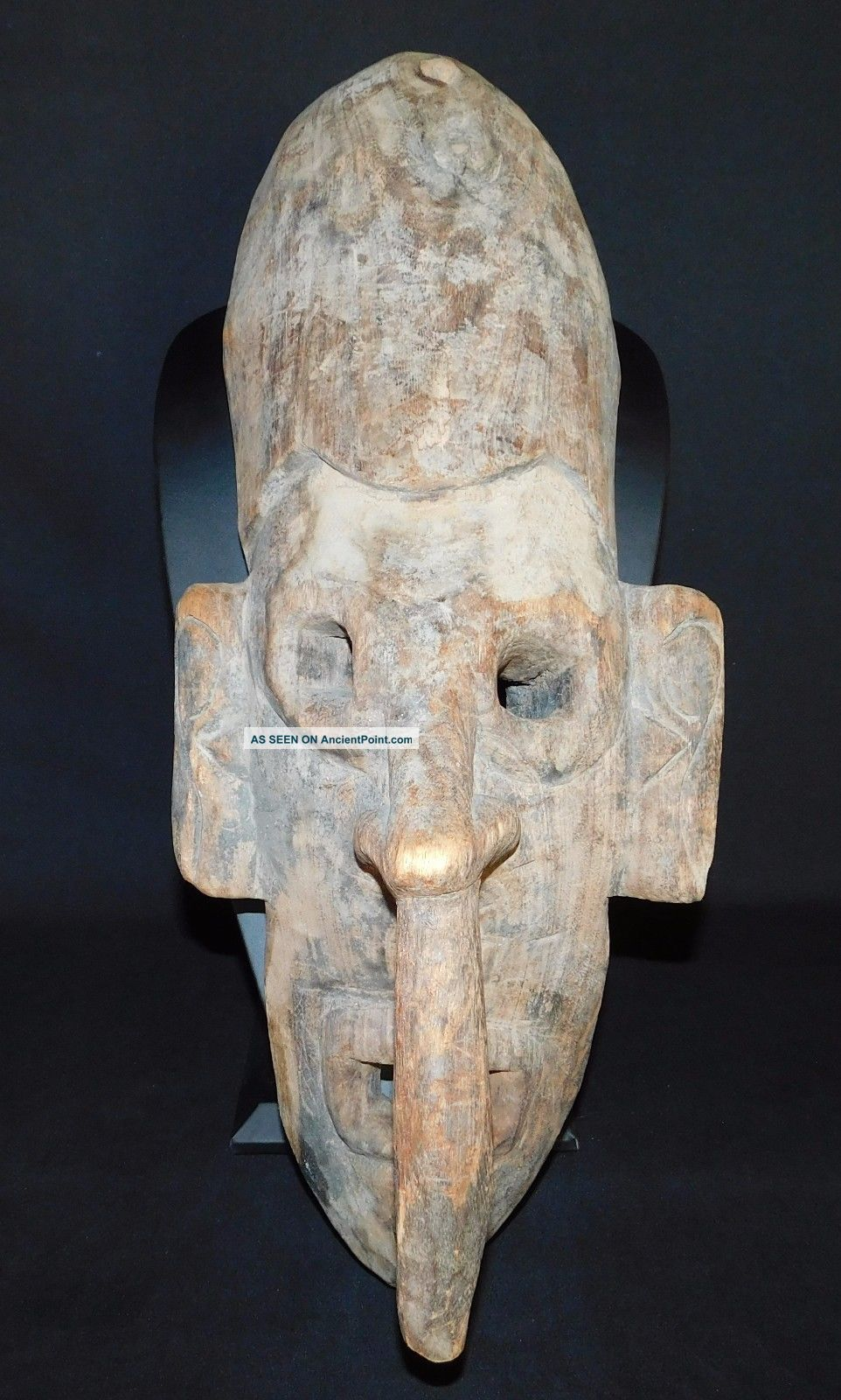 Old Carved Wood Tribal Mask Long Nose Guinea Sepik Iatmul Mei Large 21