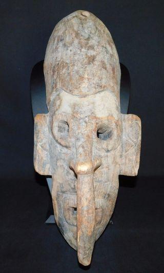 Old Carved Wood Tribal Mask Long Nose Guinea Sepik Iatmul Mei Large 21