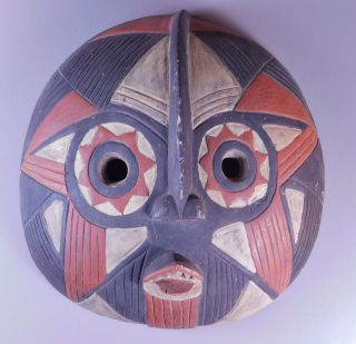 Old African Tribal Face Mask Carved Wood Painted Sun Star Luba Songye Congo 17
