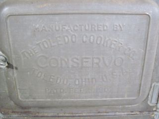 Vintage Antique Toledo Cooker Co Conservo Cooker Canner Steamer Stove Pat.  1907 photo