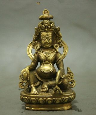 Folk Tibet Brass Buddhism Wealth God Joss Yellow Jamhala Buddha Statue photo