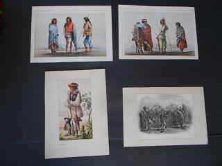 4 Antique Lithographs Of Native American Indians - Apache - Yumas - Navajos photo