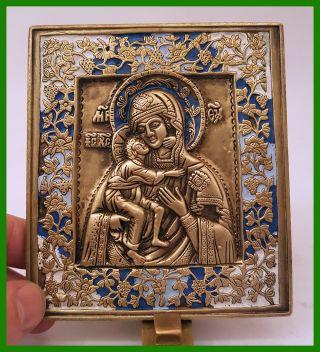Russia Orthodox Bronze Icon The Virgin Of Vladimir.  Enameled. photo