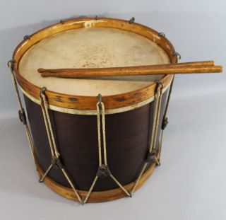 Antique Circa 1900 Mahogany Parade Drum photo