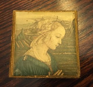 Vintage Italian Florentine Wood Angel Trinket Box Handmade Made In Italy photo