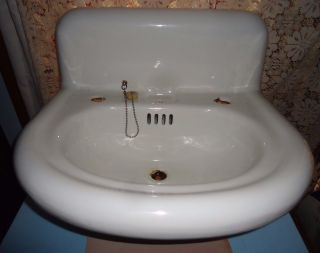Antique Porcellain Sink,  S.  S.  M.  Co.  Embossed,  Porcellain Cast Iron Vanity Sink photo