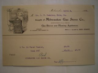 Antique 1896 Milwaukee Gas Stove & Heating Applicances Bill/ Receipt W/ Graphic photo
