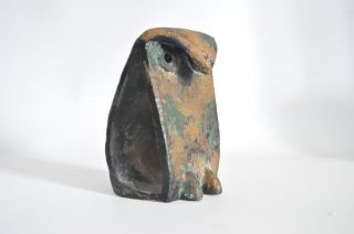 Brutalist Vtg Mid Century Modern Metal Bronze Bookends Owl Bird Sculpture photo