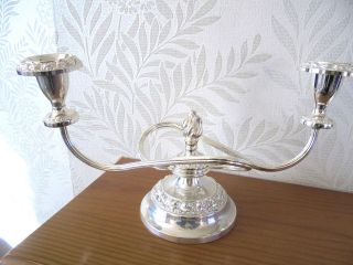 Silver Plated Two Sconce Candelabra 1960 ' S photo