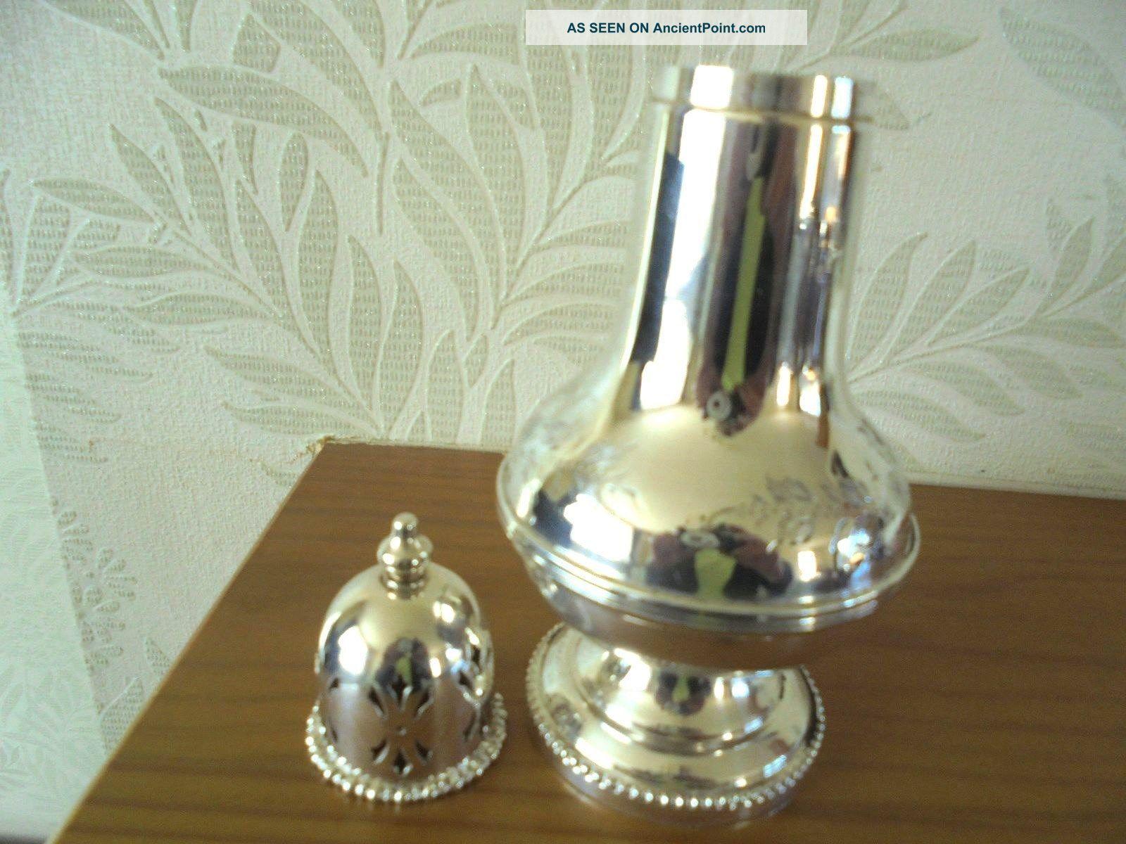 Pretty Hand Engraved Silver Plated Sugar Shaker Sugar Bowls/Tongs photo