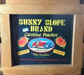 Wood Peach Crate Vtg Sunny Slope Farms Gaffney Sc Race Car 1960 Caggiano & S Box photo