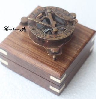 Brass Compass Pocket Compass Nautical Compass Sundial Compass W/wood Case photo