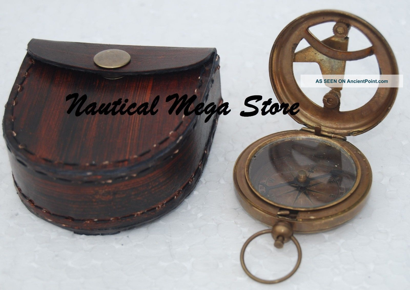 Nautical Maritime West London Brass Sundial Compass Push Button Pirate Engraved Compasses photo