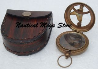 Nautical Maritime West London Brass Sundial Compass Push Button Pirate Engraved photo