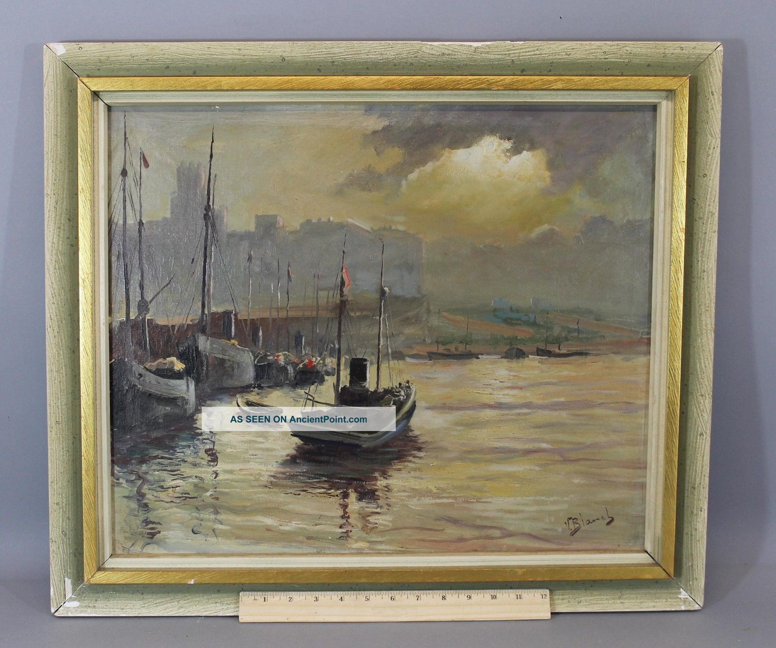 Antique Signed Netherlands Dutch Fishing Boat Maritime Harbor Oil Painting,  Nr Other Maritime Antiques photo