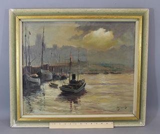 Antique Signed Netherlands Dutch Fishing Boat Maritime Harbor Oil Painting,  Nr photo