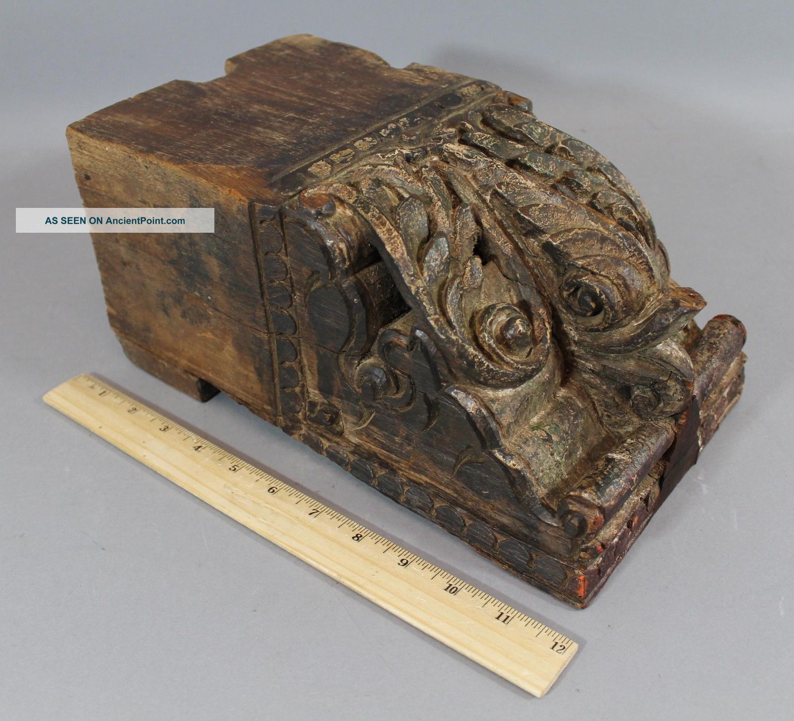 Antique 17th/18thc Carved Folk Art Wood Dolphin Ship Fragment Corbel Nr Folk Art photo