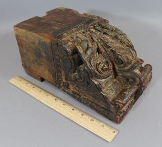 Antique 17th/18thc Carved Folk Art Wood Dolphin Ship Fragment Corbel Nr photo