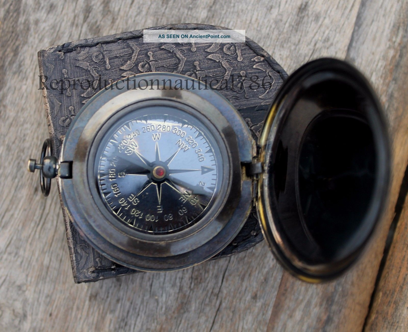 Handmade Brass Antique Push Button Navigation Compass Marine Astrolabe Compass Compasses photo