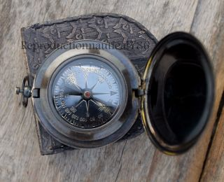 Handmade Brass Antique Push Button Navigation Compass Marine Astrolabe Compass photo