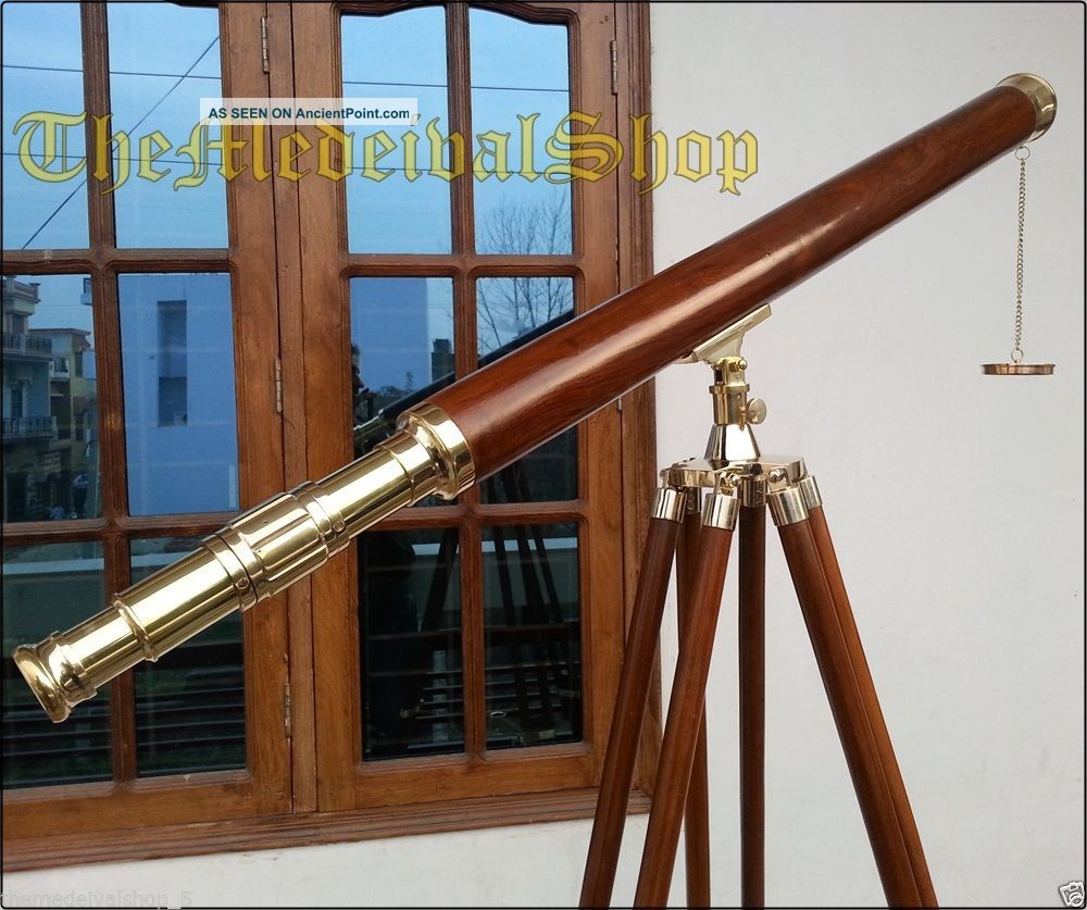 Solid Brass Antique Style Wooden Tripod Telescope Marine Navy Island Nautical Telescopes photo