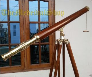 Solid Brass Antique Style Wooden Tripod Telescope Marine Navy Island Nautical photo