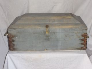 Antique Blue Wash Paint Childs Casket Box Coffin Handles Domed Wood Wooden Trunk photo