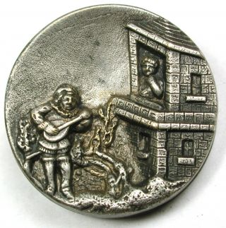 Antique Button Detailed Romantic Scene Man Plays Mandolin To Woman Above1 & 1/4